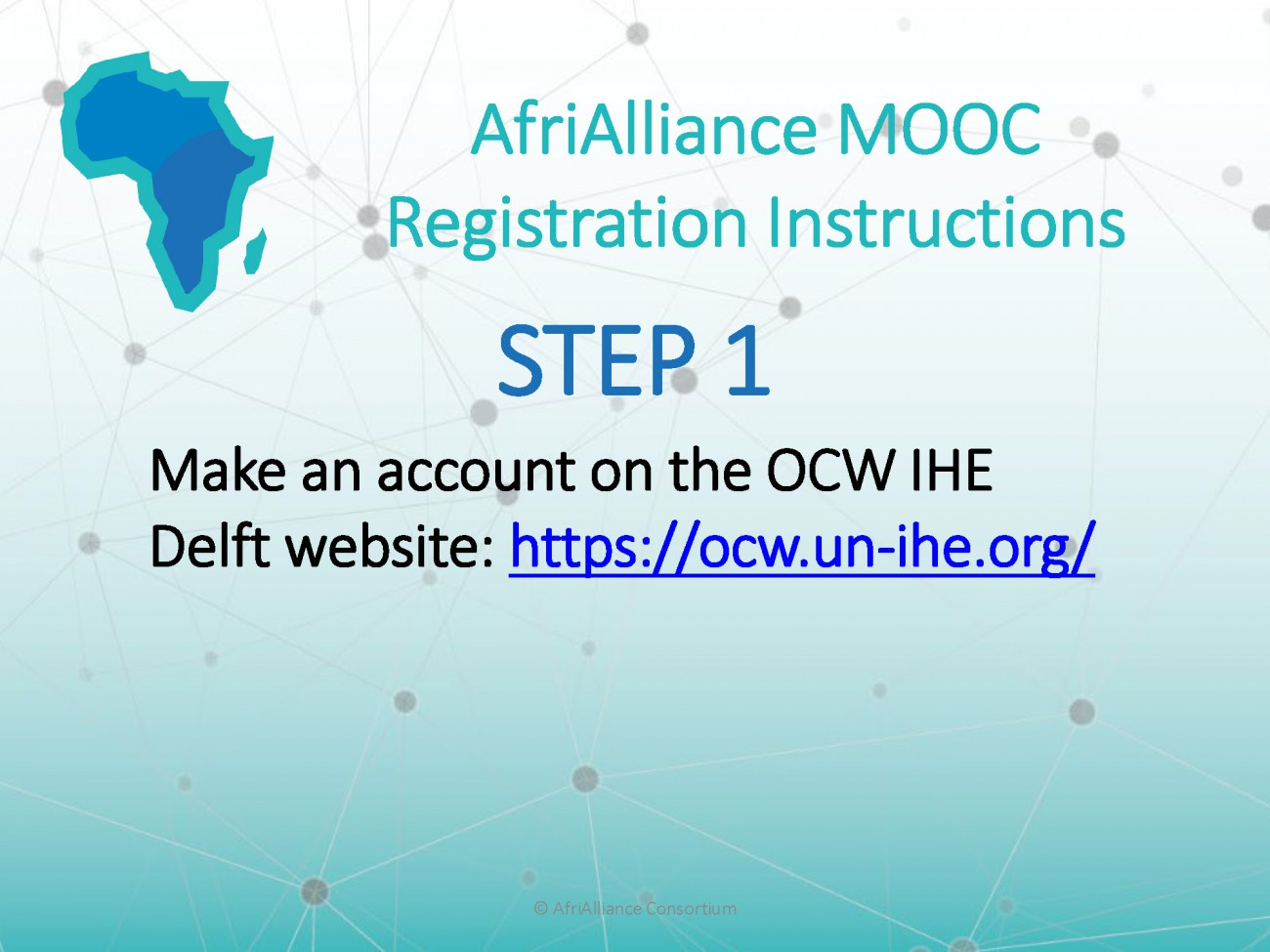 Step 1 of the instructions to enrolling in AfriAlliance MOOCs
