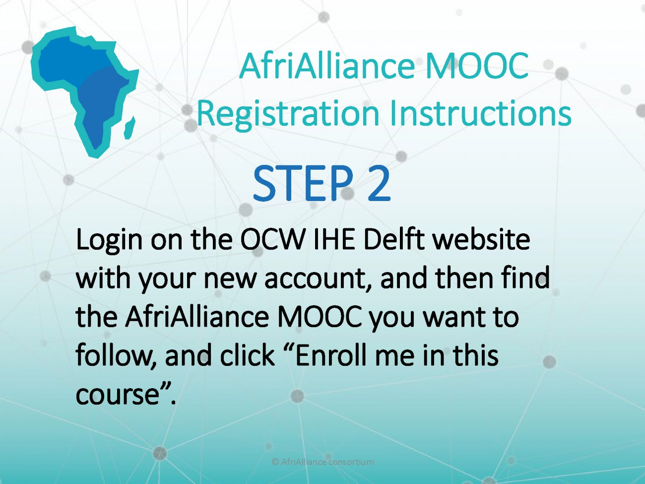 Step 2 of the instructions to enrolling in AfriAlliance MOOCs