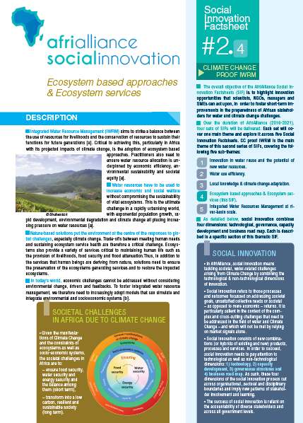 Social Innovation Factsheet #2.4 Ecosystem based approaches & Ecosystem services